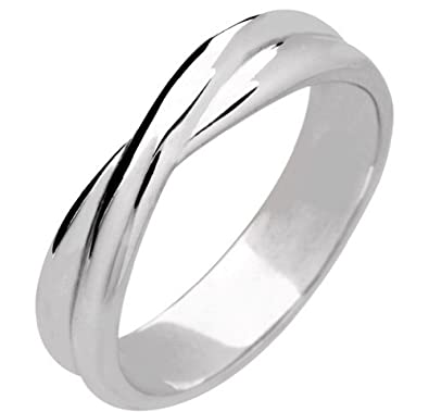 Palladium Designer Shaped Wedding Ring Width 5mm