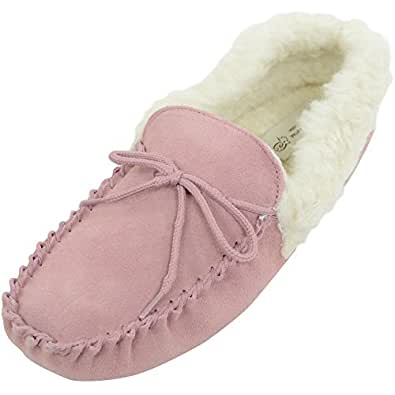 Ladies Pink Sheepskin Wool Lined Moccasin Slippers with Soft Sole and Wool Cuff. Size 8