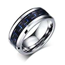 buy Men'S Tungsten Ring Wedding Band Black And Blue Carbon Fiber Inlay And Beveled Edges,8Mm Width