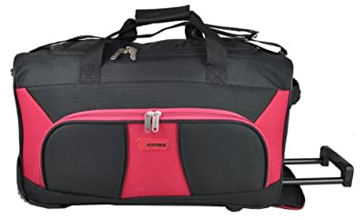 "5 Cities® 21"" Cabin Approved Super Lightweight Ripstop Fabric Wheeled Luggage Bag (Black/Red) - 'Right Size, Right Weight, Right Price!' - LuggageTravelBags"
