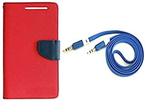 Novo Style Wallet Case Cover For HTC Desire 826 Red + 3 feet Slim 3.5mm Music Record Stereo Audio Auxiliary AUX Cable Cord