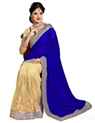 Beige And Blue Net And Faux Georgette Saree With Blouse