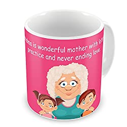 Gift for Mom Mothers Day Birthday Anniversary Wonderful Grandma Never Ending Love Pink Best Quality Ceramic Mug Everyday Gifting