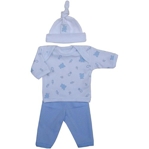 Premature Early Baby Clothes 3 Piece Set - Long Sleeved Top, Trousers & Hat 1.5lb - 7.5lb Blue