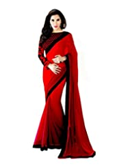 Clickedia Women Georgette Red Saree With Black Border & Embroidered Blouse
