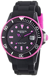 MADISON NEW YORK Unisex-Armbanduhr Candy Time Black Line Neon Analog Quarz Silikon U4485-40/1