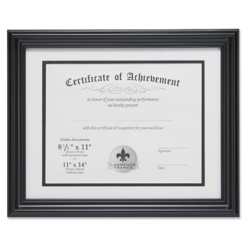 Lawrence Frames Dual Use 11 by 14-Inch Certificate Picture Frame with Double Bevel Cut Matting for 8.5 by 11-Inch Document, Black (Matting Frame compare prices)