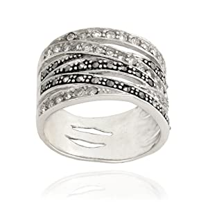 Sterling Silver 6 Row Marcasite & Cubic Zirconia Ring
