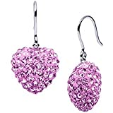 925 Sterling Silver 11 Mm Each Cubic Zirconia Amethyst Pink Color Heart Drop Earrings 5.00 Carat Total