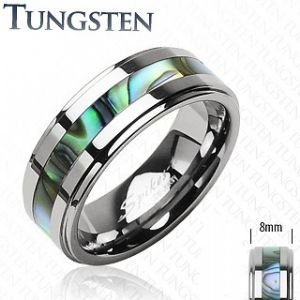 Gekko Body Jewellery Mens Tungsten Band Ring with Abalone Shell Centre
