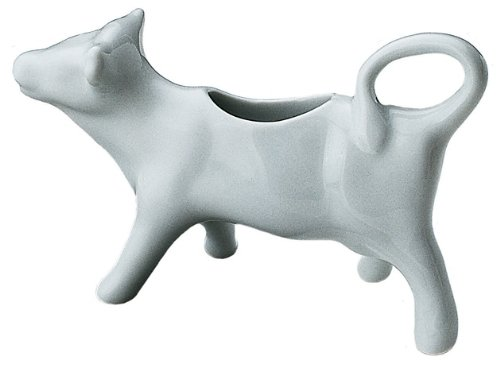 Kitchen Supply 8040 White Porcelain Cow Shape Creamer, 3-Ounce