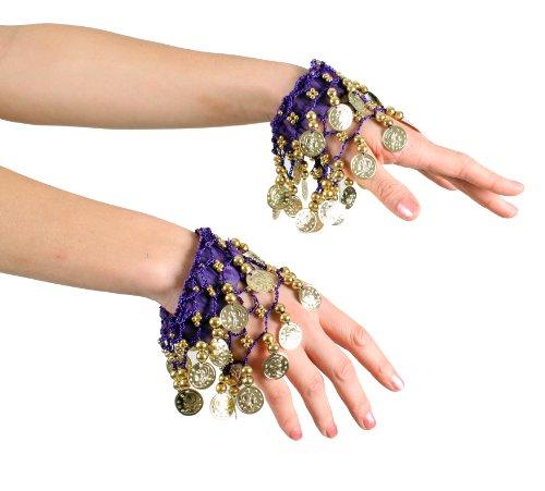 Belly Dance Wrist Cuff Bracelet (Pair) (PURPLE/GOLD)