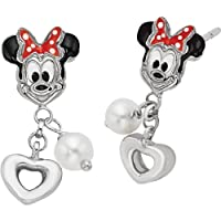Sterling Silver Disney Minnie Mouse & Pearl Earrings from US Gems