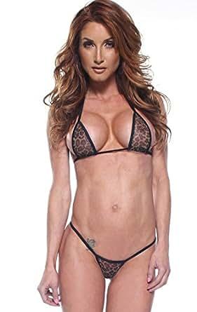 Leopard Mesh Sexy Micro G-String Thong Bikini 2 Piece