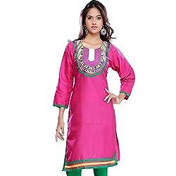 Janasya women's Pink solid kurtis