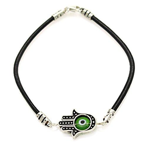 Hamsa Hand w/ Green Glass Evil Eye & Sterling Silver Bracelet