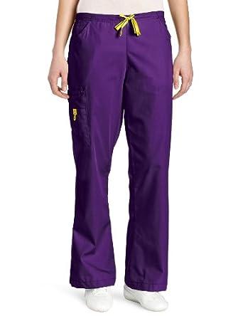 WonderWink Women's Scrubs Romeo 6 Pocket Flare Leg Pant, Grape, XX-Small/Petite