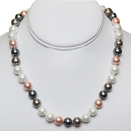 Multi-Color 10mm Mop Shell Pearl Necklace Metal Clasp
