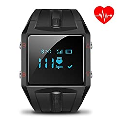 LUOOV Big Black Waterproof Heart Rate Smart Activity Tracker for Android and IOS