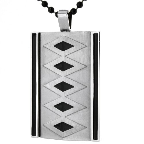 Stainless Steel Black Plated & White Diamond Design Pendant on a 24 Inch Chain