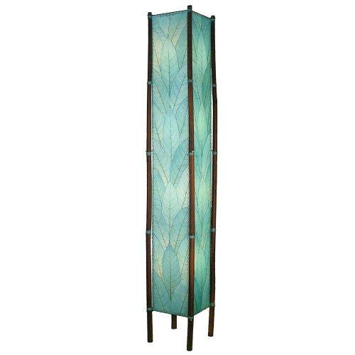Floor lamp 4 light bamboo legs fossilized leaf shade sea blue handmade