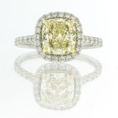2.66ct Fancy Yellow Cushion Cut Diamond Engagement