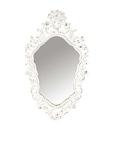 Uptown Down Vintage Flower Detail Oval Mirror, White/Glass