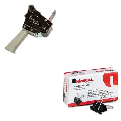 KITMMMH180UNV10200 - Value Kit - Scotch H180 Box Sealing Pistol Grip Tape Dispenser (MMMH180) and Universal Small Binder Clips (UNV10200) kitmmmc60stpac103637 value kit scotch value desktop tape dispenser mmmc60st and pacon riverside construction paper pac103637