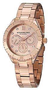 Stuhrling Original Women's 549.04 Symphony Regent Gala Quartz Day and Date Rose Tone Bracelet Watch