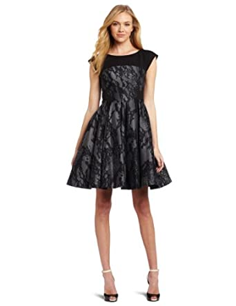 French Connection Women's Milly Lace Dress, Silver, 6