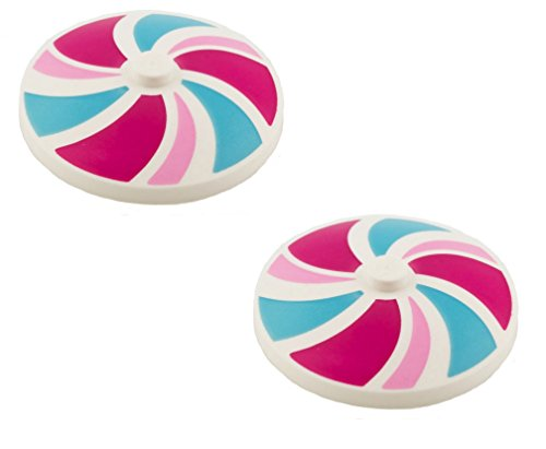 Lego Parts: Dish 4 x 4 Inverted (UMBRELLA) with Stripes Bright Pink/Magenta/Medium Azure Pattern (PACK of 2)