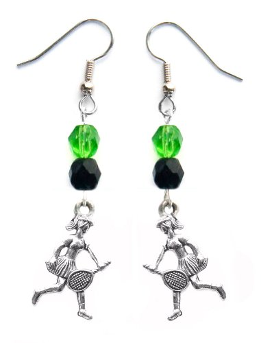 """""""Tennis Girl"""" Tennis Earrings (Team Colors Kelly Green & Black)"""