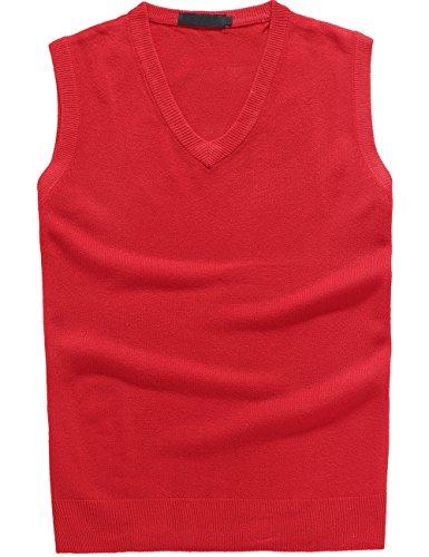 Camii Mia Women's V-Ausschnitt Einfarbig Pullunder (Large, Rot)