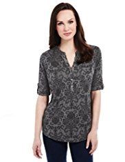 M&S Collection Paisley Print Burnout Top