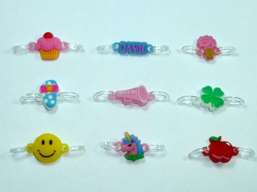 2-Clip Connector Charms for Rainbow Loom Bracelets (Pack of 9) (Spirit Fun Pack)