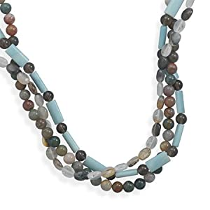 Sterling Silver 16 Inch + 2 Inch Triple Strand Multistone Necklace - 16 Inch - JewelryWeb