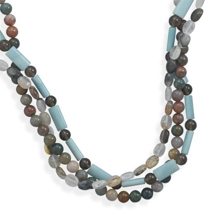 16 Inch + 2 Inch Triple Strand Multistone Necklace