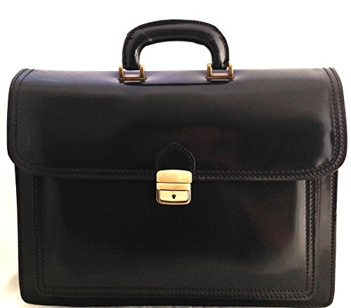 CTM Borsa da Lavoro Nera Cartella Porta Documenti da Uomo, 41x31x18cm, Vera Pelle 100% Made in Italy