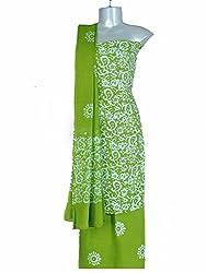 Aakruti Creations Women's Unstitched Fine Cotton Batik print dress material (Cool Green)