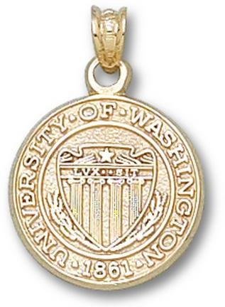 Washington Huskies Seal Pendant - 14KT Gold Jewelry by Logo Art