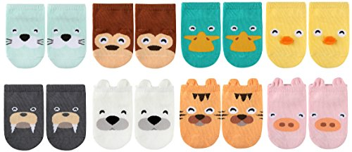 LUXEHOME (YR1604) Anti-Slip Grip Soles Cozy Cartoon Baby Socks,8 Pairs per Pack (S 0-2 Years)