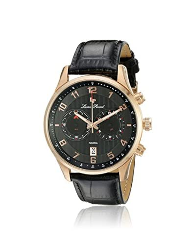 Lucien Piccard Men's LP-11187-RG-01 Navona Rose-Tone/Black Leather Watch