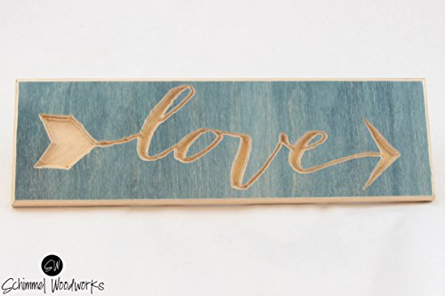 Cursive Love Sign, Teal stained wood, Comes with hanging clasp in the back! Great for wedding gift, anniversary gift or bridesmaids gifts!