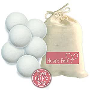 Six Wool Dryer Balls By Heart Felt - The BEST RATED Dryer Ball Brand on Amazon! 100% Pure Organic Wool to the Core ~ Perfect for Cloth Diapers ~ Perfect Gift Idea!