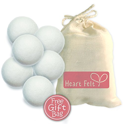 Heart Felt Wool Dryer Balls (6 Pack) - Hand Felted Dryer Balls, premium New Zealand wool to the Core. Natural Fabric Softener for Cloth Diapers, Unique Gift Idea (Washer And Dryer Second Hand compare prices)