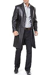 BGSD Men's Classic New Zealand Lambskin Leather Walking Coat