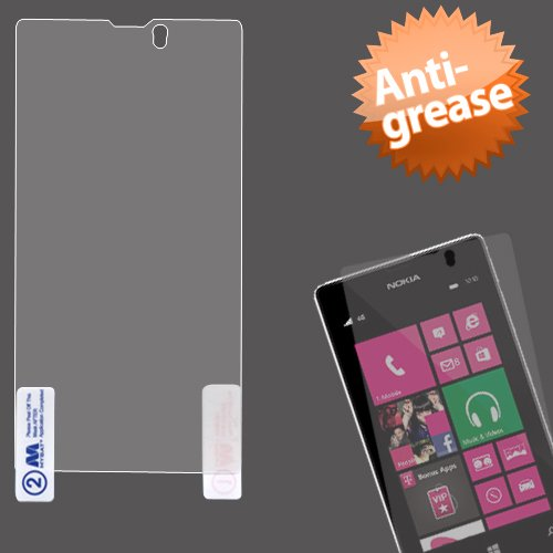 Cell Accessories For Less (Tm) Nokia 521 (Lumia 521) Anti-Grease Lcd Screen Protector/Clear + Bundle (Stylus & Micro Cleaning Cloth) - By Thetargetbuys