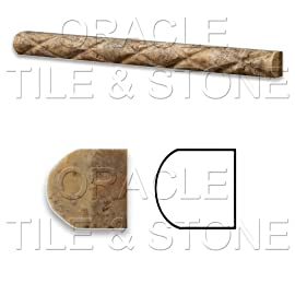 Scabos Travertine Honed 1 X 12 Diamond Rope Liner Trim Molding