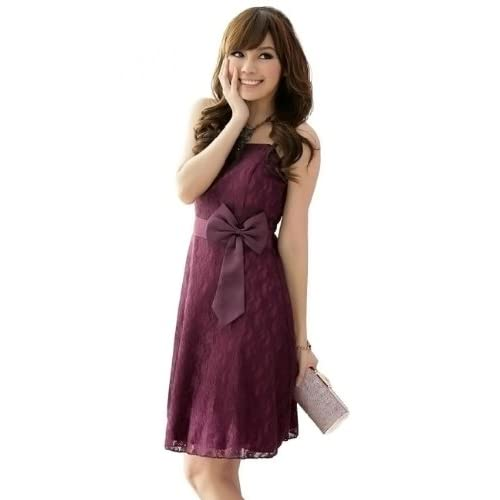 (サイカ) SAIKAリボンレースドパーティードレス Mサイズ 紫