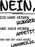 Tattoo Wandaufkleber Wanddekoration für Kühlschrank Nein Hunger Appetit Spruch